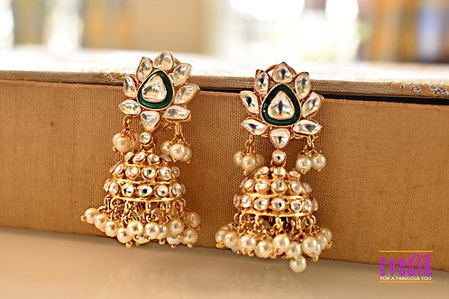 Golden Floral Kundan and Pearl Jhumka