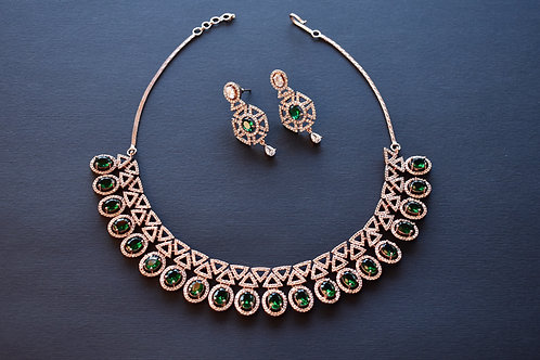 Sophisticated  Necklace Set with White and Green CZ Stones in Rose Gold Finish