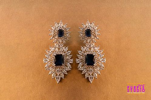 Stunning Party Wear White and Blue AD Danglers