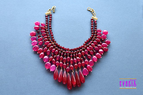 Multi Layered Gorgeous Necklace in semi precious ruby colour beads