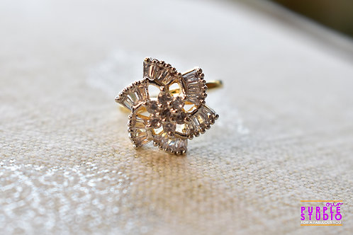 Silver  Floral Ring with White Petals