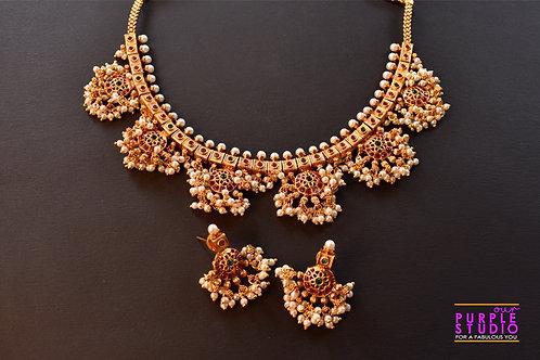 Gorgeous Golden Guttapusalu Necklace Set