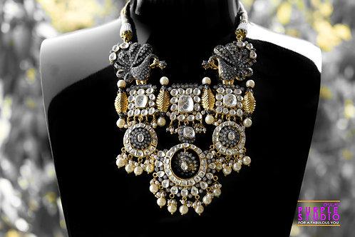 Designer Antique Royal Necklace Set in Kundan and Pearl