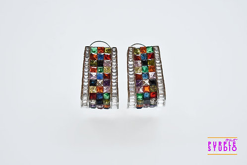 Gorgeous Multi Colored CZ Half Hoops