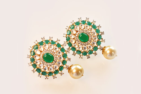 Graceful Green Ethnic Kundan Studs with a Pearl Drop