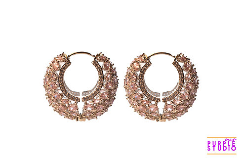 Sophisticated Silver and Pink CZ stone Stardust Hoops