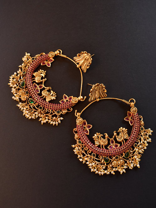 Antique Golden Temple Chandbali with Pink Kemp Stones