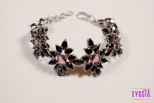 Star Studded Elegant Bracelet in Black and Pink CZ Stone