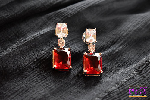 Smart CZ Danglers in White and Red