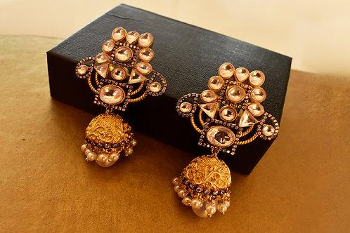 Ravishing Golden Kundan Jhumkas