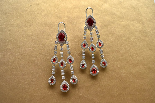 Chandelier Earrings in Rich White andRed CZ
