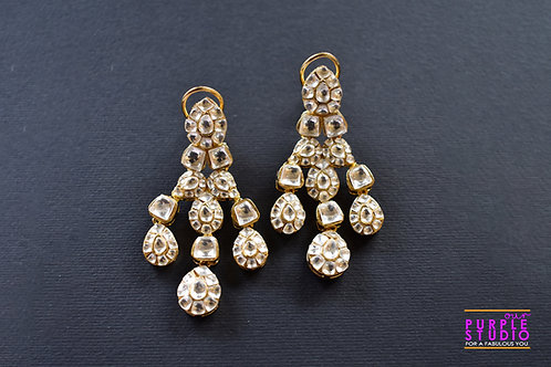 Statement Golden Bridal Earring in Rich Kundan Stones