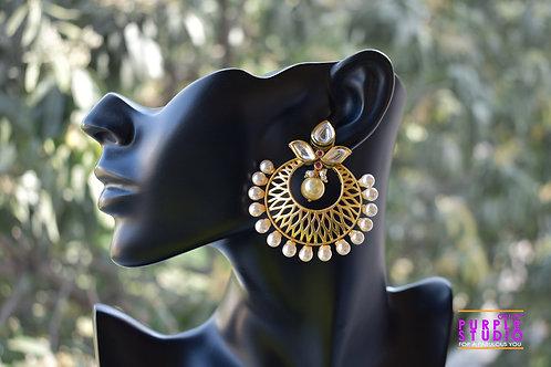 Golden Pearl Chandbali