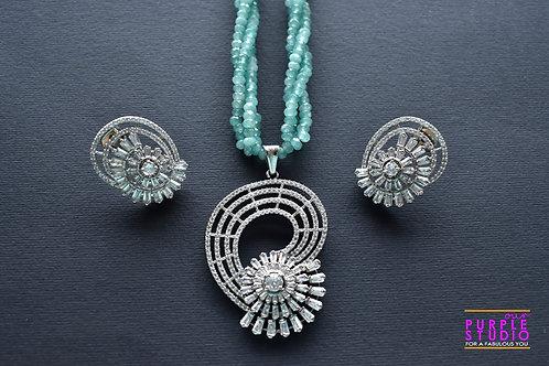 Beautiful Silver Pendant  Set in Green Beads