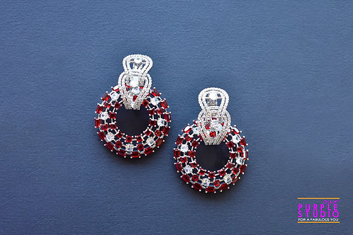 Gorgeous Dual Party Wear Earrings with Red and White AD stones