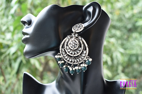 Gorgeous Silver Tone  Chandbali with Green Beads