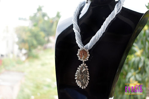 Sophisticated Semi Precious Pendant in Grey Beaded Necklace