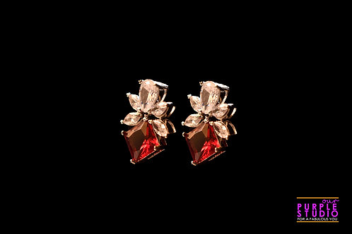 Square Red CZ leaf Stud Earring