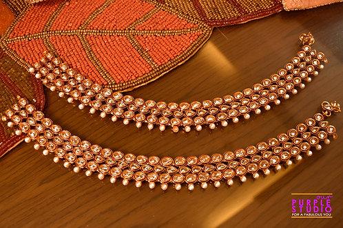 Bridal Golden Payal in Kundan with Pearl Drop