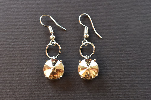 Light Wear Earring with Champagne Color Swarovski Drop