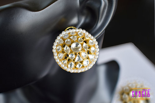 Graceful Ethnic Studs in Rich Kundan and White Pearl