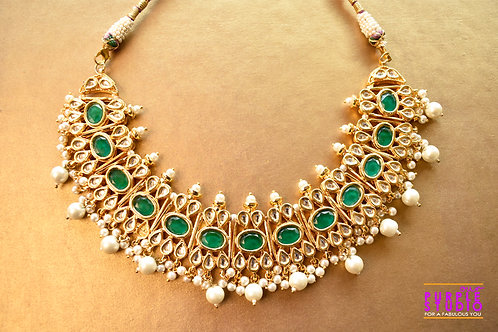 Royal Green Kundan Necklace Set