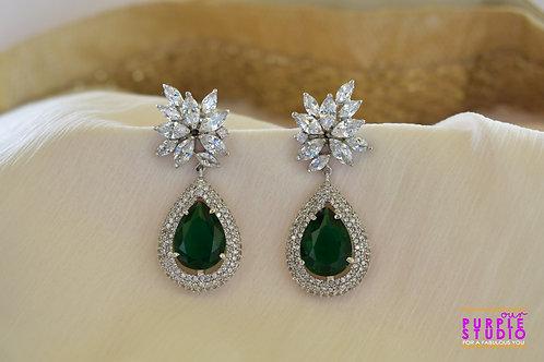 Sparkling Floral Emerald Danglers