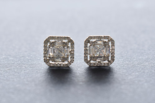 Smart  Square Shaped Silver AD Stud