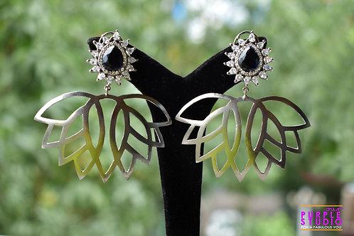Metallic Asymmetrical Leaf Earring