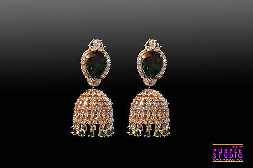 Mesmerizing Silver CZ Jhumkas with Green Center Onyx Stone