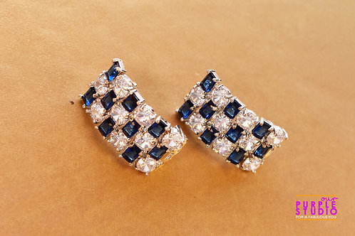 Gorgeous White and Blue Color CZ Half Hoops