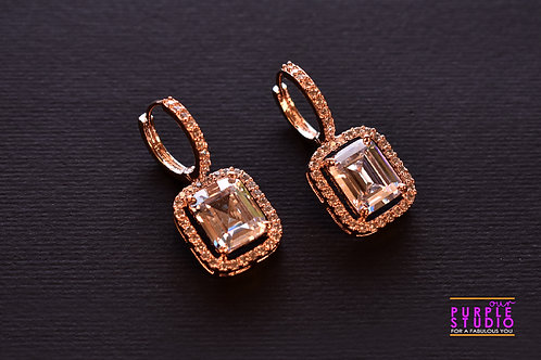 Square CZ Stud Earring with Hoop in Golden Polish