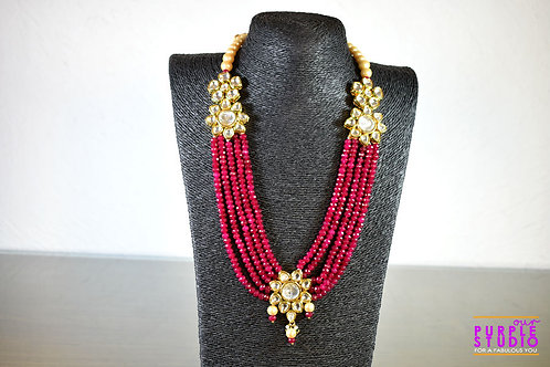 Gorgeous Red Beaded Kundan Necklace Set