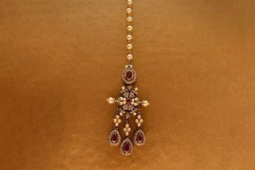 Party Wear Antique Kundan and Pink CZ stone Maang Tikka