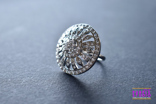 Adjustable Silver Tone AD Ring