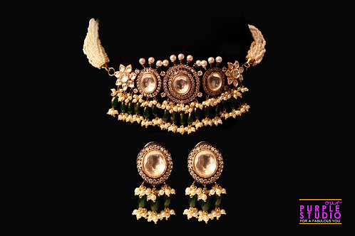Captivating Antique Kundan and  Green Beads Choker Set