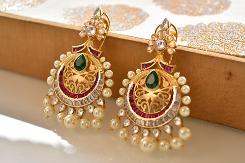 Statement Golden Earring in beautiful Kundan and colourful AD stones
