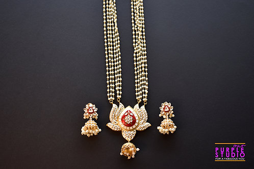 Captivating Kundan and Pearl Red Lotus Necklace Set