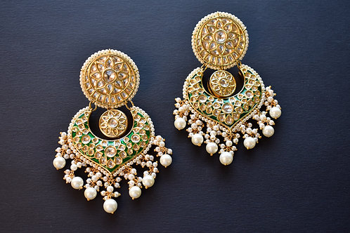 Gorgeous Golden Kundan Danglers with a touch of Green