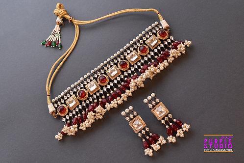 Gorgeous Kundan Choker Set In Pearl And Red Pota Stone Setting