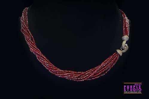 Contemporary Twisted  Necklace in  Maroon Semi Precious Beads