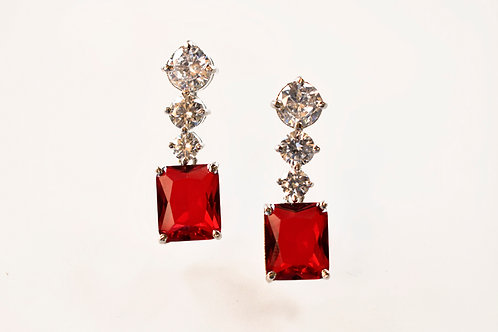 Sparkling Princess Cut Earring in Red Onyx Stone