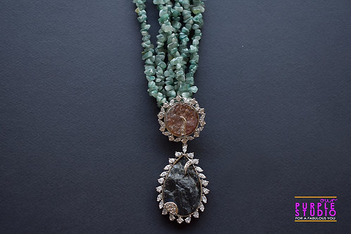 Beautiful Semi Precious Pendant in Green Beaded Necklace