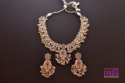 Guttapusalu Oxide Silver Clustered Pearl Necklace Set