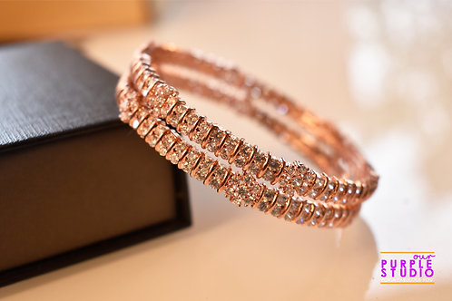 Sophisticated Pair of  Rose Gold AD Bangles