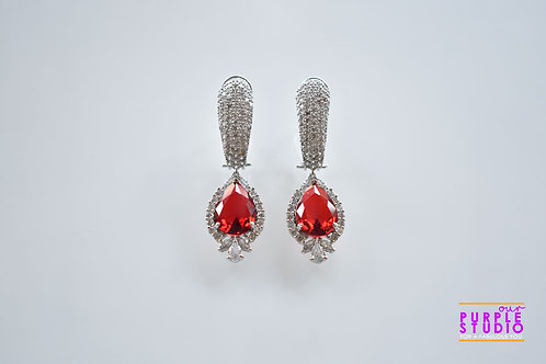Stunning Party Wear White and Red AD Danglers