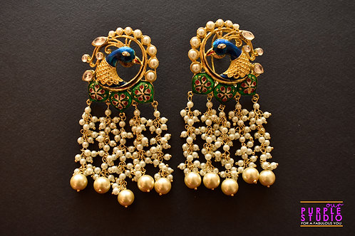 Exquisite Golden Peacock Earrings with Pearl Shower