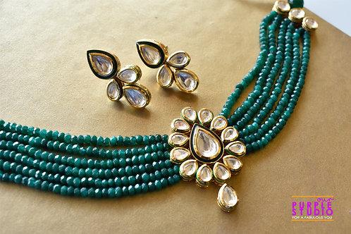 Designer Royal Kundan Choker  Set in Green Beads