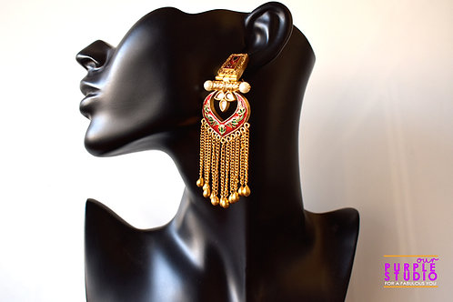 Statement Bridal Red Earring with golden tassels