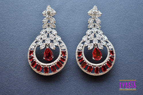 Statement  Silver Tone Earring  in Red and White Semi Precious Stone